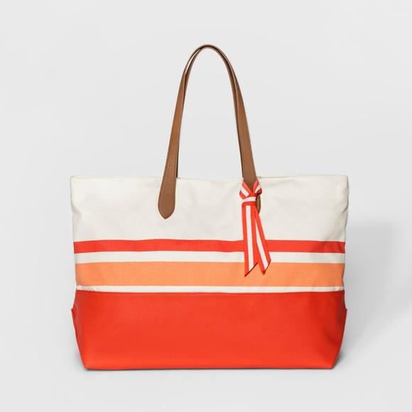 98eed515da3c Canvas Striped Oversized Tote Handbag - Peach. NWT. a new day